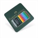 Faber-Castell - Boite Métallique Mixte Media Albrecht Durer (Crayons pour Aquarelle Albrecht Durer + Pinceau + Feutres d'Artiste Pitt)