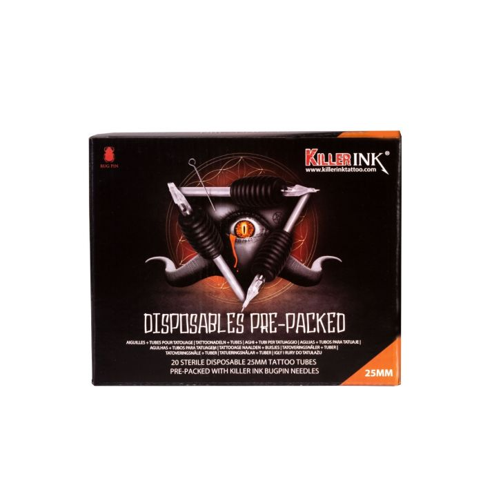 Boite Mixte de 20 Sets Jetables Killer Ink Tube/Manchon 25mm + Aiguilles Bug Pin (0,25mm)
