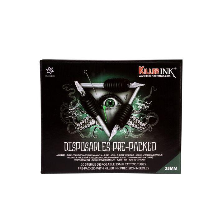 Boite Mixte de 20 Sets Jetables Killer Ink Tube/Manchon 25mm + Aiguilles Precision (0,35mm)