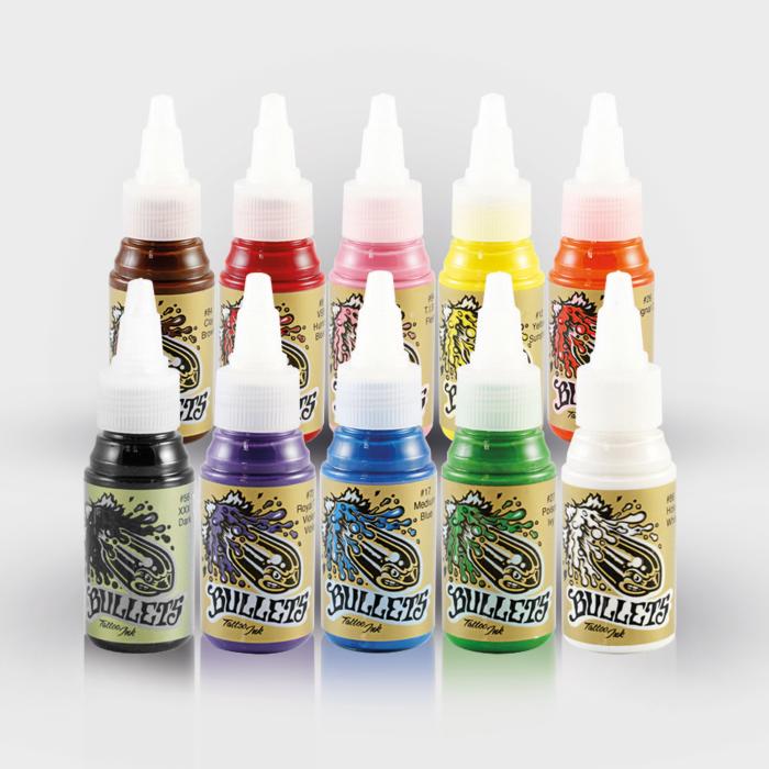 Bullets Tattoo Ink - Set complet 10 encres (35ml)