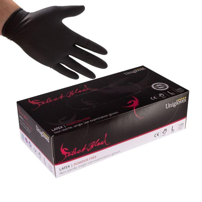 Boite de 100 gants Unigloves Select (latex sans poudre) - Noir