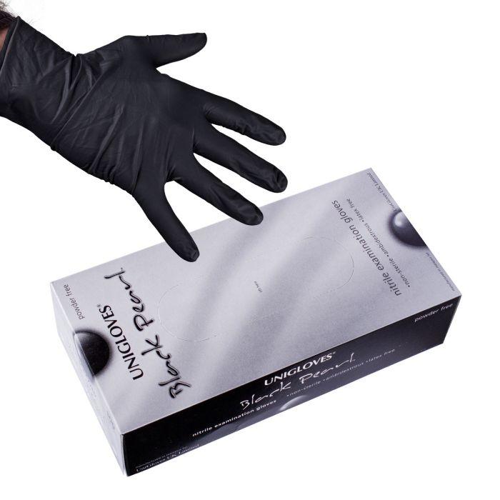 Boite de 100 gants Unigloves Black Pearl (nitrile) - Noir