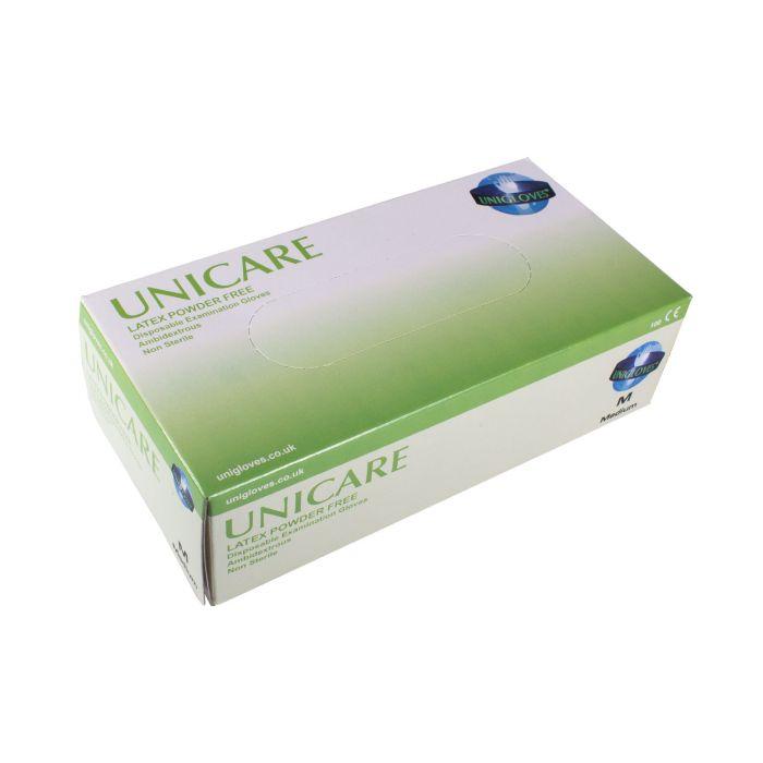 Boite de 100 gants Unicare (latex non poudrés) - Crème