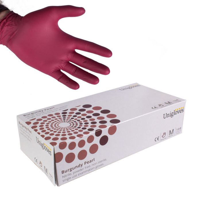 Boite de 100 gants Unigloves Burgundy Pearl (nitrile) - Bordeau