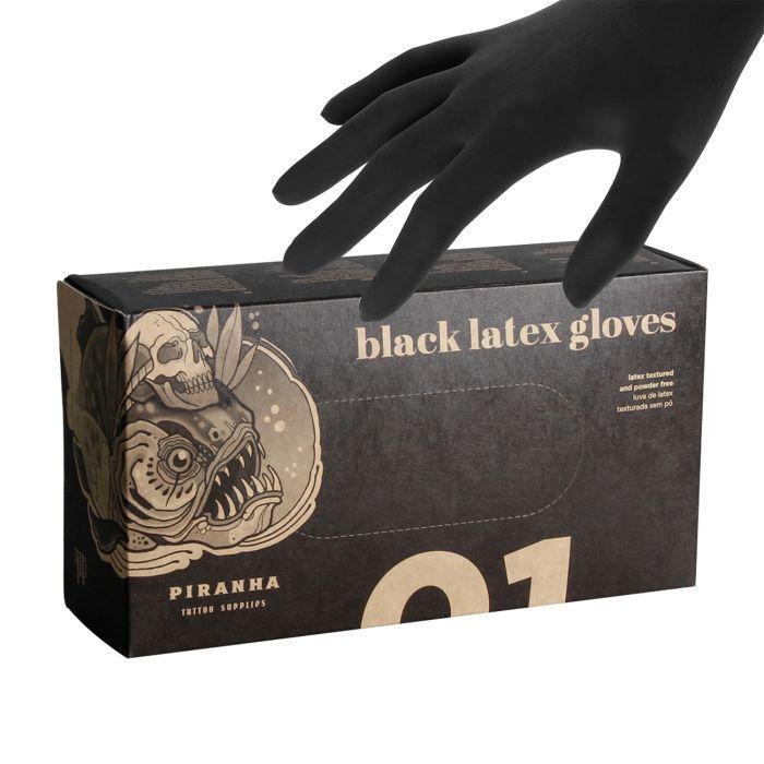 Boite de 100 gants Piranha (latex) - Noir