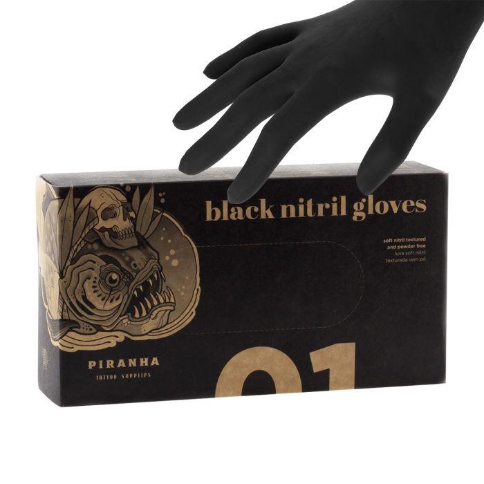 Boite de 100 gants Piranha (nitrile) - Noir