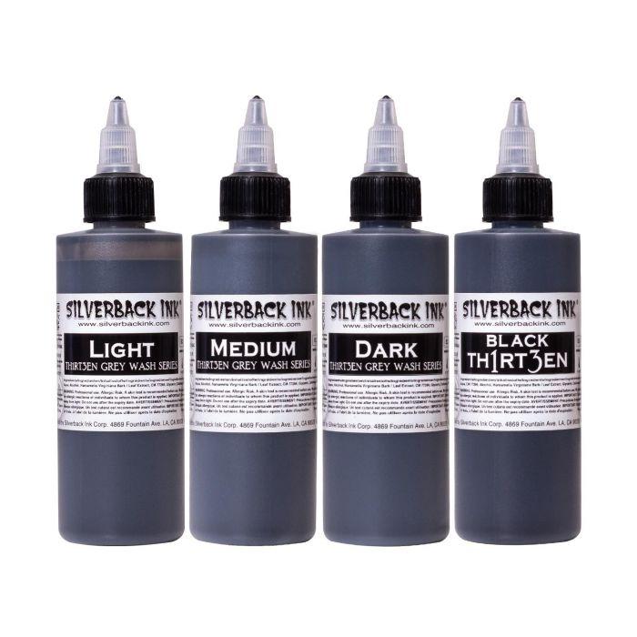 Série Silverback Ink® Black Th1rt3en et 3 Grey washs - Set complet 4 encres