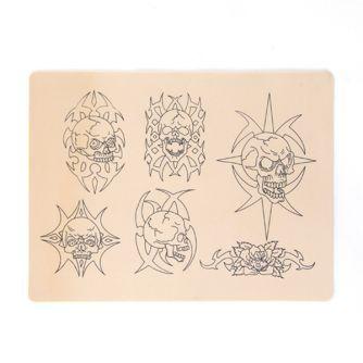 Peau d'Entrainement pour Tatouage - Motifs Têtes de Morts (14,5 x 19,5cm)
