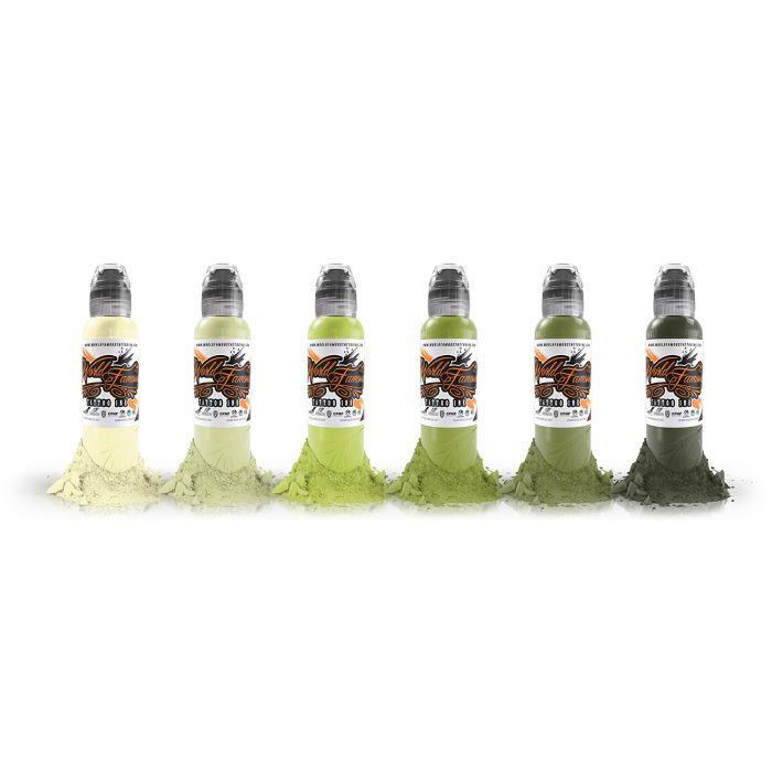 Encre World Famous Ink - Vincent Zattera's Rotten Green - Set Complet 6 Encres (30ml)